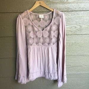 Knox Rose pink eyelet lace Swingy bell sleeve top